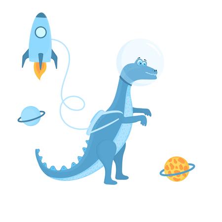 Dinosaur astronaut in space is a cartoon character. Rocket Standard-Bild - 124215926