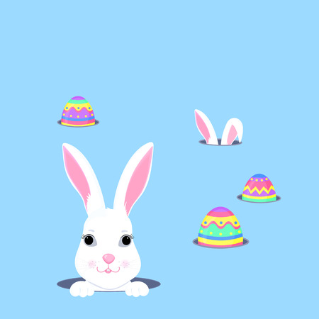 Cute bunny looks out of the hole. Easter egg hunt. White rabbit cartoon character