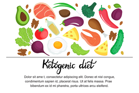 Ketogenic diet horizontal banner. Low carb dieting Paleo nutrition. Keto meal protein and fat Standard-Bild - 124189738