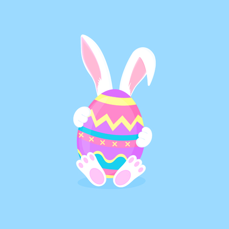 Easter bunny sitting with a paint egg. White rabbit cartoon character