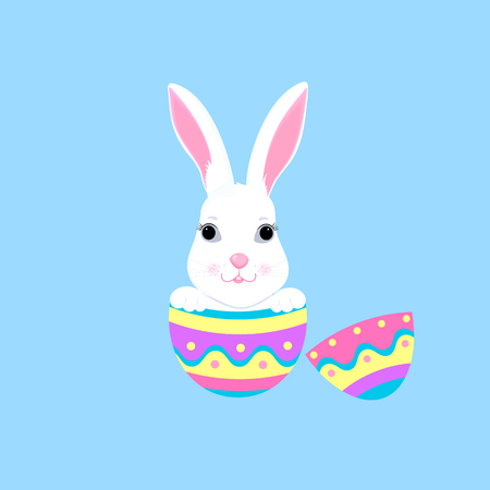 Easter bunny sitting in a paint egg. White rabbit cartoon character Illustration