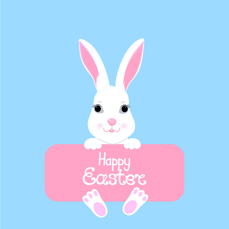 Easter bunny holds in its paws a banner with the inscription Happy Easter. White rabbit cartoon character Illustration