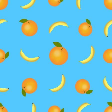Ripe orange and banana seamless pattern. Citrus fruit seamless pattern for printing on fabric Standard-Bild - 124157270