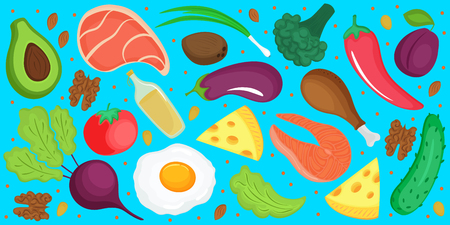 Keto diet. Ketogenic low carb and protein, high fat. Horizontal banner of fresh vegetables, fish, cheese, egg Standard-Bild - 124157271