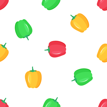 Paprika. Red, yellow and green peppers seamless pattern Banque d'images - 124157276