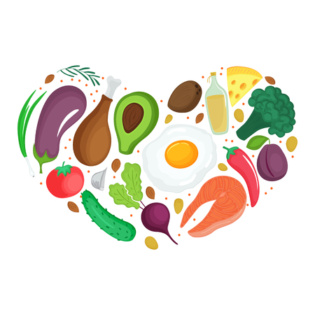 Keto foods: vegetables, nuts, meat, fish Heart shaped banner Ketogenic nutrition Standard-Bild - 124157279