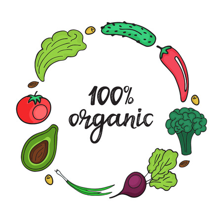 Round frame of fresh vegetables in doodle style. 100 percent organic hand drawn lettering