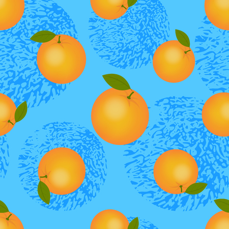 Juicy ripe orange with green leaves. Citrus fruit seamless pattern for printing on fabric Standard-Bild - 124064669
