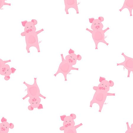 Personnage de dessin animé drôle de cochon tamponnant. Cochon dansant. Porcelet mignon amusez-vous. Modèle sans couture pour pépinière, textile, vêtements pour enfants. Vecteurs