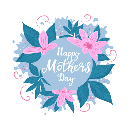 Happy Mother`s day posters or banner design with spring flowers. Standard-Bild - 123853349