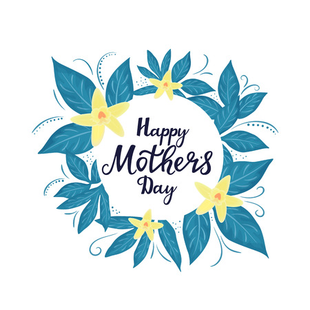 Happy Mother`s day posters or greeting card with with yellow orchids. Standard-Bild - 123853350
