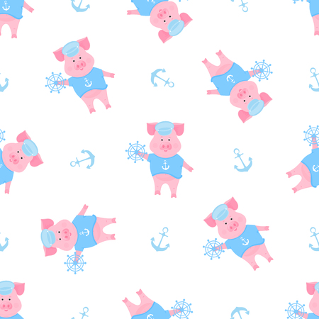 A funny piggy in a sailor T-shirt and captain hat. Seamless pattern for nursery, textile, kids apparel. Standard-Bild - 123853354