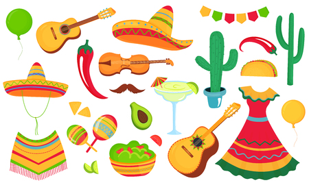 Cinco de Mayo. A large set of decorative elements for the design of a poster, banner, flyer, greeting card, advertising for the national Mexican holiday. Musical instruments, local food, clothing Standard-Bild - 123853355