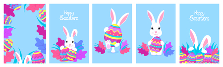 Happy Easter. A set of greeting designs with bunnies and painted eggs. White rabbit cartoon character Standard-Bild - 123853356