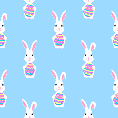 Easter bunny holds paint egg in paws seamless pattern Standard-Bild - 123752816