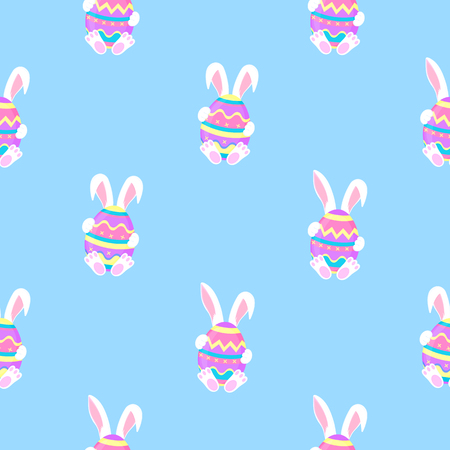 Easter bunny sitting with a paint egg. White rabbit cartoon character seamless pattern Standard-Bild - 123752819
