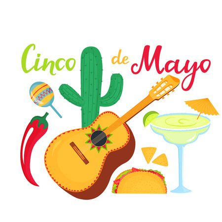 Cinco de Mayo lettering. 5th of May banner. National Mexican holiday. Cactus, margarita, guitarron, maracas, chili pepper, lime, taco, nachos Иллюстрация