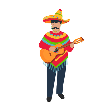 Mexican musician in poncho and sombrero playing guitar. Cinco de Mayo. 5th of May Standard-Bild - 123687327