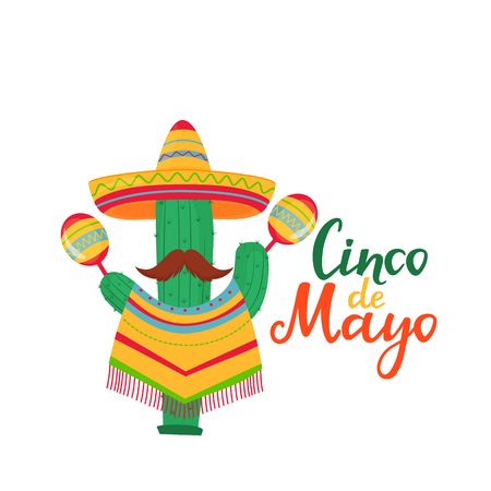 Cinco de Mayo lettering. 5th of May banner. National Mexican holiday. Funny cactus with a mustache in a poncho and a sombrero with maracas cartoon character Standard-Bild - 123687331