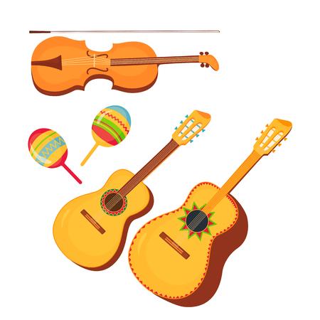 Set of traditional Mexican musical instruments guitar, guitarron, violin, maracas. Cinco de Mayo. 5th of May. Standard-Bild - 123687332