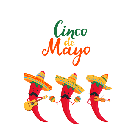 Cinco de Mayo lettering. 5th of May banner. National Mexican holiday. Funny chili peppers musicians in a sombrero with a guitar, a viol and maracas are singing and have fun.