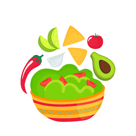 Guacamole - a dish of national Mexican cuisine. Tomato, garlic, lime slices, avocado, chili pepper, corn chips nachos. Local food