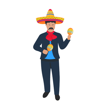 Cinco de Mayo. 5th of May. Mariachi. Mexican street musician in national costume playing on maracas.
