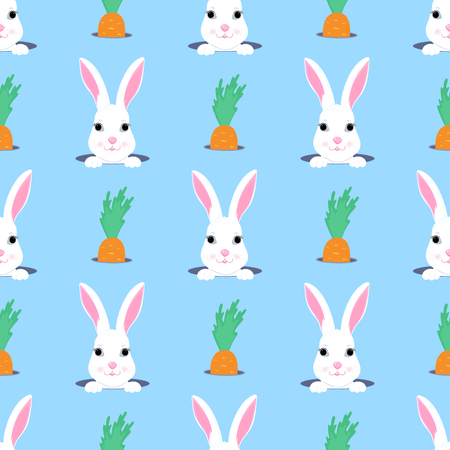 Easter bunny looks out of the hole. Rabbit and carrot child seamless pattern. Can be used for the decoration of the nursery, children's clothing, kids accessories, gift wrapping, digital paper
