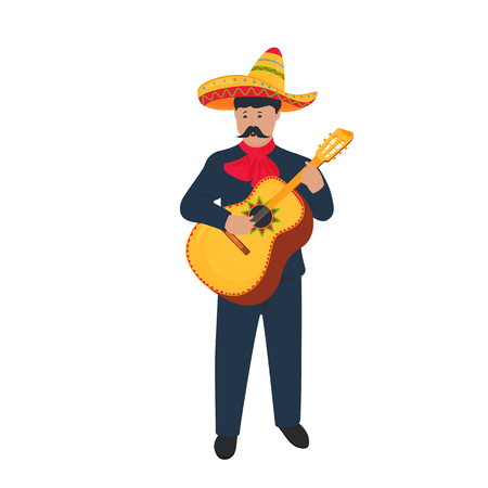 Cinco de Mayo. 5th of May. Mariachi. Mexican street musician in national costume playing the guitarron