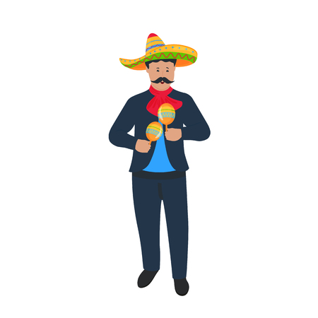 Cinco de Mayo. 5th of May. Mariachi. Mexican street musician in national costume playing on maracas. Traditional Mexican musical instrument Vectores