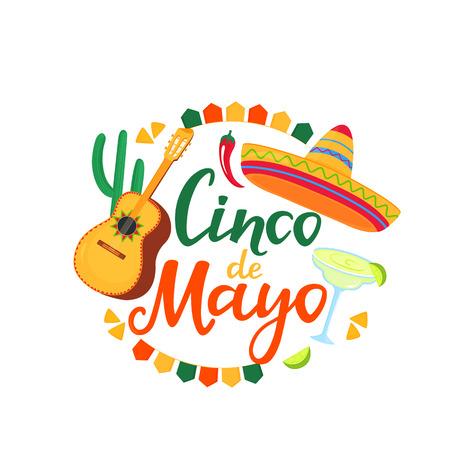 Cinco de Mayo banner. Hand drawn lettering. 5th of May. Festive mexican banner. Guitar, Margarita, Sombrero