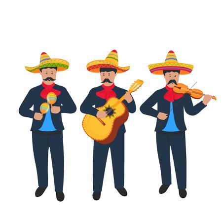 Cinco de Mayo. 5 de mayo. Músicos callejeros mexicanos tocan el violín, las maracas y la guitarra. Grupo de música.