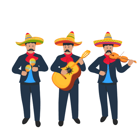 Cinco de Mayo. 5th of May. Street Mexican musicians play the violin, the maracas and the guitar. Music band.