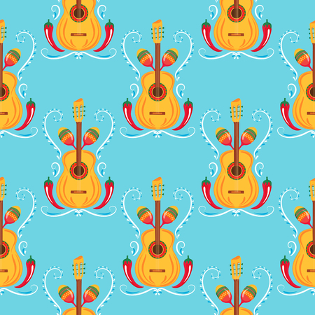 Guitar, maracas, red chili. Mexican seamless pattern. Decor for Cinco de Mayo. Can be used as wallpaper, wrapping paper, packing, textiles.