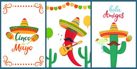 Cinco de Mayo. Hola amigos. Letras dibujadas a mano. Un conjunto de carteles festivos para la fiesta nacional mexicana. Ají divertido juega en la guitarra. Cactus de dibujos animados en sombrero tiene maracas.