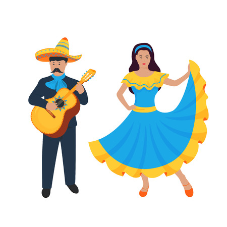 Cinco de Mayo. 5th of May. Mexican musician sing and play on Guitarron. Guitarist. Girl dancing in traditional dress Vectores