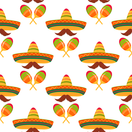 Sombreros, mustaches, maracas. Seamless pattern. Decor for Cinco de Mayo. Can be used as wallpaper, wrapping paper, packing, textiles.