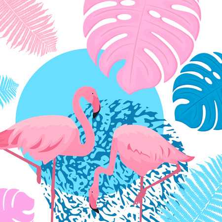 Pink flamingo1. Trendy tropical design. Leaves of palm, monstera, fern.