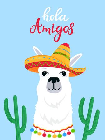 Funny alpaca in a Mexican sombrero. Hola Amigos hand drawn lettering.