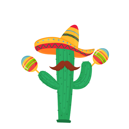 Cinco de Mayo. 5th of May. Funny cartoon cactus with a mustache in a sombrero playing on maracas
