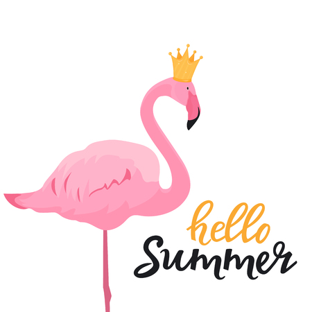 Pink flamingo in a golden crown. Hello summer hand drawn lettering