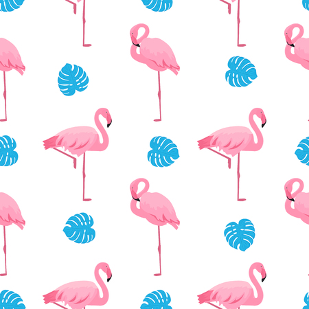 Graceful flamingos and monstera leaves. Tropical summer seamless pattern.