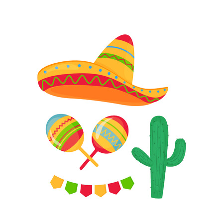 Cinco de Mayo. 5th of May. Sombrero, maracas, cactus and garland with flags.