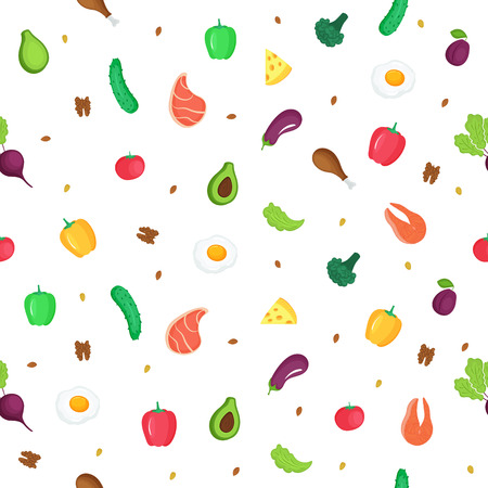 Keto diet. Ketogenic low carb and protein, high fat. Seamless pattern of fresh vegetables, fish, meat, nuts. Can be used as packaging for healthy foods, as wrapping paper, wallpaper