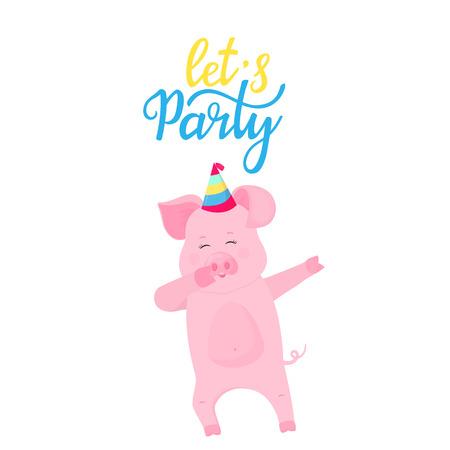 Let`s party. Dancing pig in a striped hat Ilustração