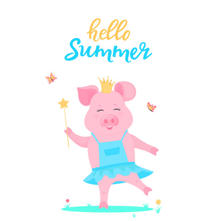 A cute pig princess in a dress with a magic wand in hand is played on a green lawn. Funny animal. Piggy Cartoon Character. Hello summer.