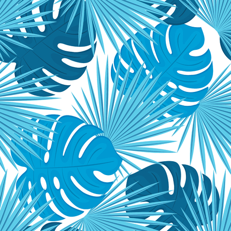 Monstera leaves and palm trees. Trendy tropical design. Seamless pattern.