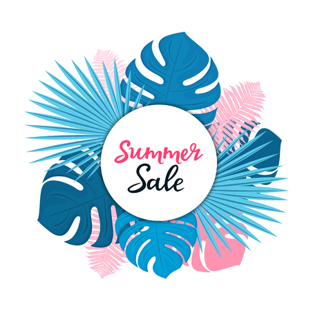 Summer sale template for seasonal discounts. Floral posters or banner design with with palm, monstera and fern leaves