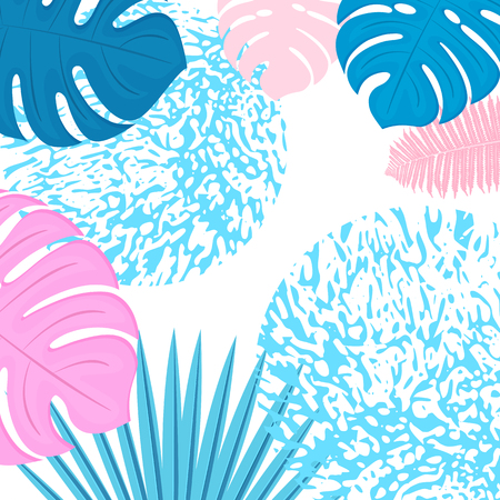 Trendy tropical design. Leaves of palm, monstera, fern
