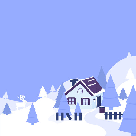 House in the forest among the mountains and firs. Winter landscape. Merry Christmas and Happy New Year in paper cut art. Illustration